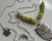 Hand Crafted Green Jade and Owl Necklace