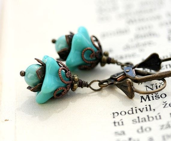 Turquoise Flower earrings, Floral Jewelry, Woodland Earrings, Turquoise Dangle Earrings, Floral Earrings  by MayaHoney
