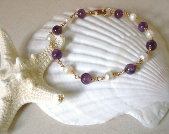 SALE Amethyst and Pearl Wrapped Bracelet
