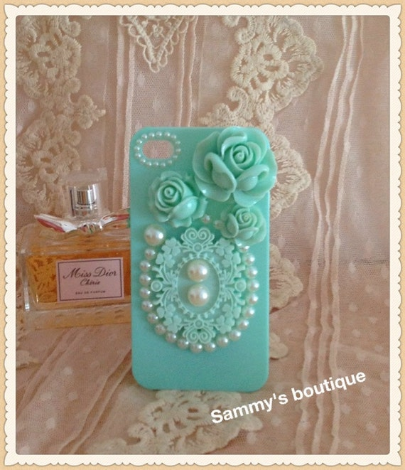 Free shipping - Rose, lace and pearl iphone case for 4/4S (back only) - light green