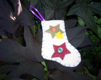 Stocking Ornament - White Stars