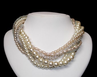 Wedding Pearl  Jewelry,Chunky Layered Ivory Pearl Necklace, Rhinestone Brides, Ivory, Handmade, Wedding Jewelry, Bridal Jewelry