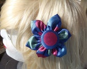 "Blue Silk ""Big Circles"" Hair Clip/Pin"