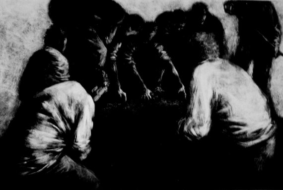 "Haunting Figure Print Black Landscape Dark Creepy Spooky Hand Pulled Fine Art Monotype ""Mass"""