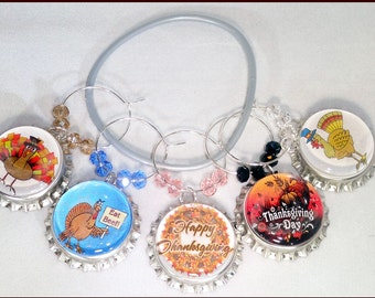Thanksgiving Wine Charms - Thanksgiving Glass Tags - Thanksgiving Glass Markers - Thanksgiving Hostess Gift - Thanksgiving Party Favors