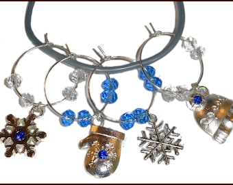 Hanukkah - Christmas Wine Charms Winter Blue - 4 pack