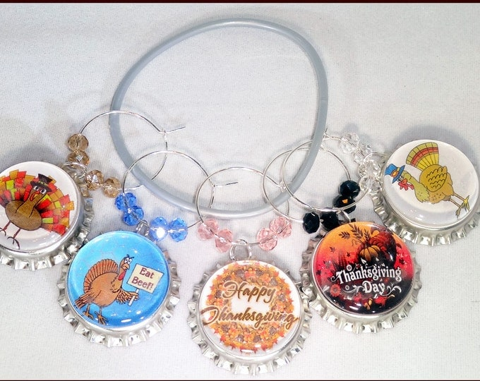 Thanksgiving Bottle Cap Wine Charms - 5/Pack