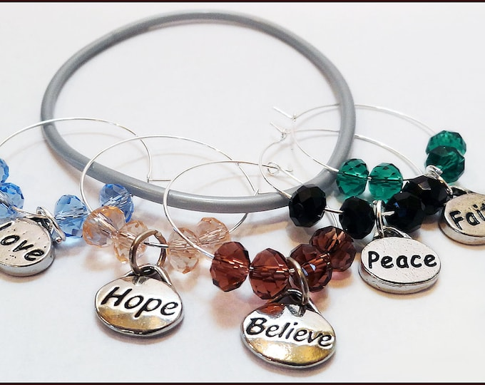 Inspirational Wine Charms, Gifts 5 pack