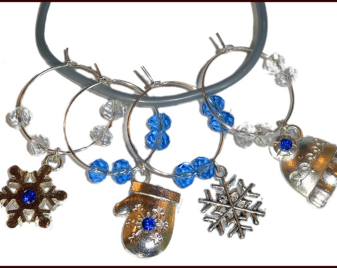 Hanukkah - Christmas Wine Charms Winter Blue - 4 pack
