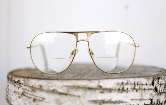 vintage gold metal frame old man hipster glasses