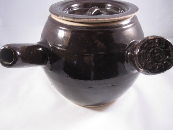 Vintage Chinese Ceramic  Clay Cooking or Medicine Tea Pot Side Handle