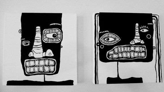 "SALE 2 Original Black and White Acrylic Paintings on Canvas - 12"" x 12"" - polkadottydolls - FREE Shipping (Canada & US)"
