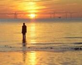 The Iron Man at Sunset, Crosby Beach, Liverpool, UK