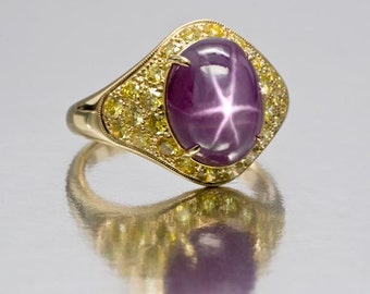 Super Grimace Color Purple Star Sapphire and Canary Diamond Ring in 18k Yellow Gold