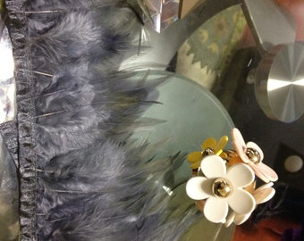 Gray Hackle Feather Fringe - 9 Inches