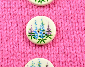 Handpainted ceramic lupine buttons, x 3
