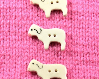 Handpainted ceramic White Lamb buttons, x 3