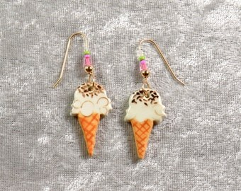 Handpainted ceramic ice cream cone earrings w silver ear wires.