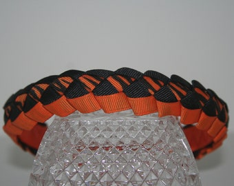 Orange and Black Military Weave Top Woven Ribbon Headband,Grosgrain, Headband, Ribbon Headband, Hair Band, Hair Accessories