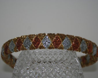 Gold, Bronze, and  Silver Woven Glitter Ribbon Headband