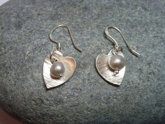 Silver Hearts and Freshwater pearls. Designed and Hand Made in Great Britain.