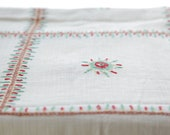 Hand Embroidered Red-Stitched Starburst tablecloth