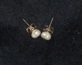 Fresh-Water Pearls.  Earrings