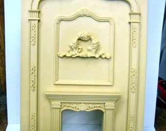 Dollhouse Miniature Grand Fireplace Besque Style with Floral Wreath