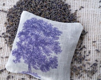 Lavender sachet on cream linen fabric vintage tree illustration