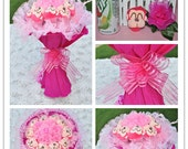 Baby Shower Monkey Bouquet (Pink) with Handmade Pink nylon flowers
