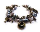 Alice in wonderland beaded charm bracelet FREE SHIPPING
