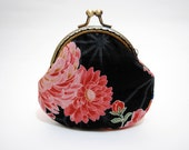 Chrysanthemum Coin Purse - Cotton fabric with silver metal frame