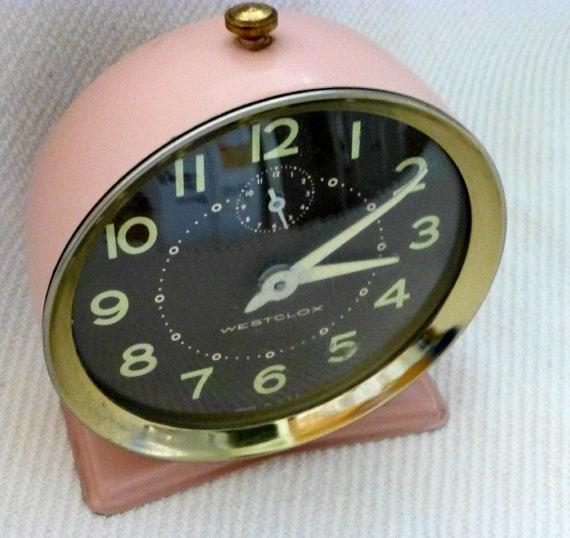 PINK VINTAGE WESTCLOX Wind up Alarm Clock by DarcyDewVintage