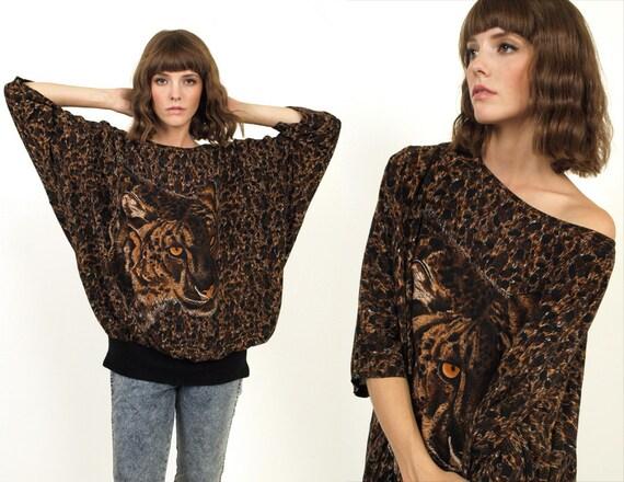 SALE 80's TIGER Face Animal Print Rayon Oversized Shirt Tunic Blouse Top
