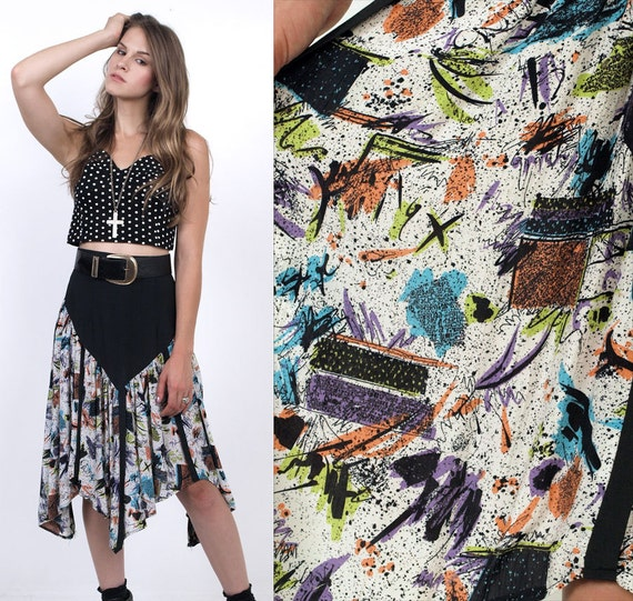 80's Asymmetrical Hem Artsy Print Rayon Midi Skirt Small S