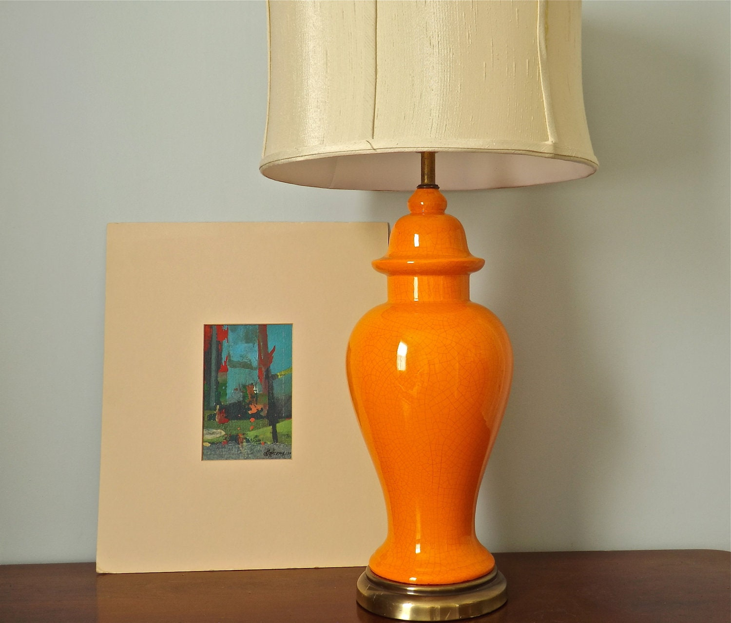 Orange Hollywood Regency Ginger Jar Lamp
