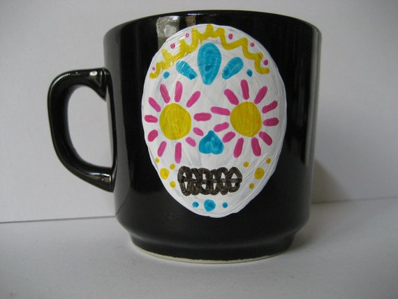 Reserved for Jessica- Sugar Skull Mug with Flowers, small
