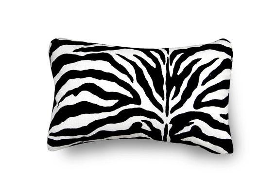 SALE-Zebra Pillow with pillow insert - 12X18 inch