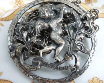 AQUARIUS CHERUB  vintage silver zodiac pendant angel  necklace