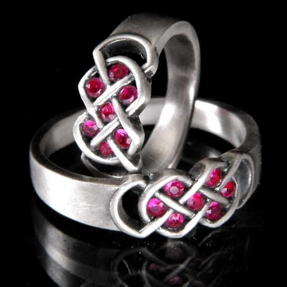 Celtic Ruby Wedding Ring Set With Infinity Knot Design in Sterling Silver, Made in Your Size CR-771