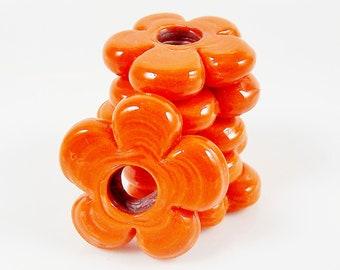 6 Large Chunky  Flower Artisan Handmade Tangerine Orange Glass Beads - 22mm