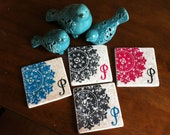 Tumbled Marble absorbent stone coasters Set of 4 Antique Medallion Custom Initial