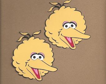 2- 4 inch tall Yellow Big Bird faces Cricut Die Cut