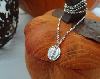 Silver Necklace with Oval Charm on Rolo Chain