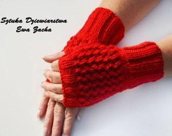 Red Fingerless Mittens, fingerless gloves in handmade-warmers