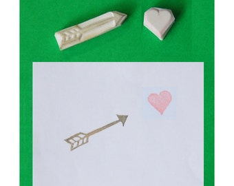 Heart handcarved rubber stamp with Arrow handcarved stamp, set of 2 - handmade rubber stamp, handcarved rubber stamp, hand carved stamp