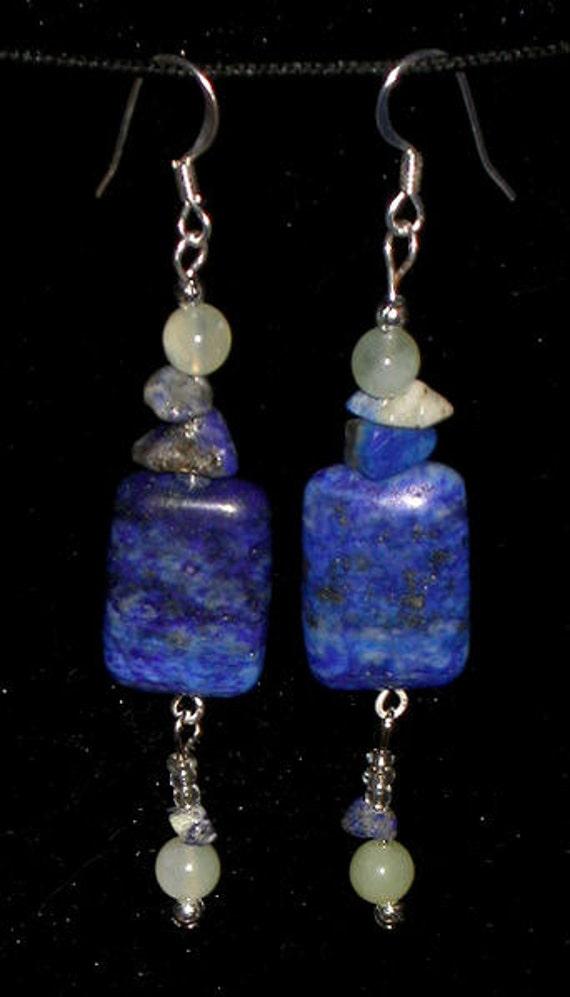 New Set 2 Artisian Earrings Copper LAPIS LAZULI JADE Natural Stones Semi-Precious Feng Shui Healing Sterling Silver Jewelry