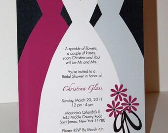 Bridal Dresses Invitation with Rhinestones