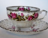 Fred Roberts Co. San Francisco China Pink Rose Opalescent Tea Cup and Saucer- Japan