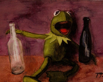 Kermit Muppets - Print reproduction of an original watercolour painting 'Kermit's Night Out' by Tuulia Tamminen - Size A3
